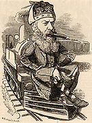 George Granville William Sutherland-Leveson-Gower, 3rd Duke of Sutherland (1828-1882), British aristocrat, succeeded to his title in 1861. Sutherland finishing a marathon railway journey in America.   Cartoon by Edward Linley Sambourne in the Punch's Fancy Portraits series from 'Punch' (London, 9 July 1881).