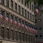 USA flags in New York city building. NYC.USA.