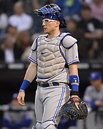 CHICAGO - MAY 16:  Danny Jansen #9 of the Toronto Blue Jays looks on against the Chicago White Sox on May 16, 2019 at Guaranteed Rate Field in Chicago, Illinois.  (Photo by Ron Vesely)  Subject:  Danny Jansen