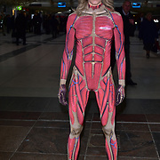 London, England, UK. 18th January 2018. Nell McAndrew trials the first ever pop-up 'work-in gym' at London Liverpool Street Station.