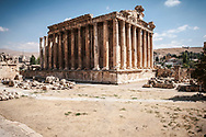 Bacchus temple, one of the better preserved Roman ruins in the world, in Baalbek, Lebanon. A slice of the modern city of Baalbek is in the background
