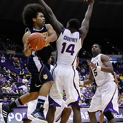 December 15, 2011; Baton Rouge, LA; UC Irvine Anteaters guard Michael Wilder (23) looks to pass as LSU Tigers forward Jalen Courtney (14) defends during the second half of a game at the Pete Maravich Assembly Center. LSU defeated UC Irvine 66-59.  Mandatory Credit: Derick E. Hingle-US PRESSWIRE