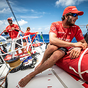 Leg 02, Lisbon to Cape Town, day 12, on board MAPFRE, Blair tuke looking forward, trying to know whats going to be the next wind's movement. Photo by Ugo Fonolla/Volvo Ocean Race. 16 November, 2017