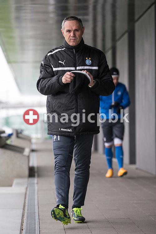 Head coach Pierluigi Tami on his way to training session of Super League (National League A) soccer team Grasshopper Club Zuerich (GCZ) held at the GC Campus in Niederhalsi, Switzerland, Friday, Feb. 6, 2015. (Photo by Patrick B. Kraemer / MAGICPBK)