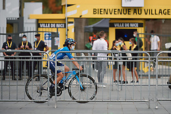 Paula Patino Bedoya (COL) weaves through the maze of fencing at the 2020 La Course By Le Tour with FDJ, a 96 km road race in Nice, France on August 29, 2020. Photo by Sean Robinson/velofocus.com