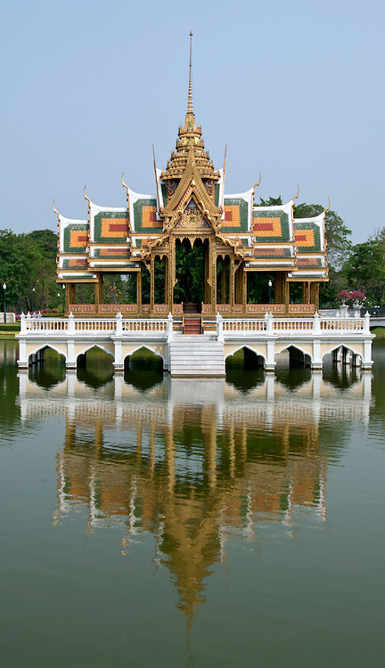 Reflection of the presidential summer house, outskirts of Bangkok, Thailand.