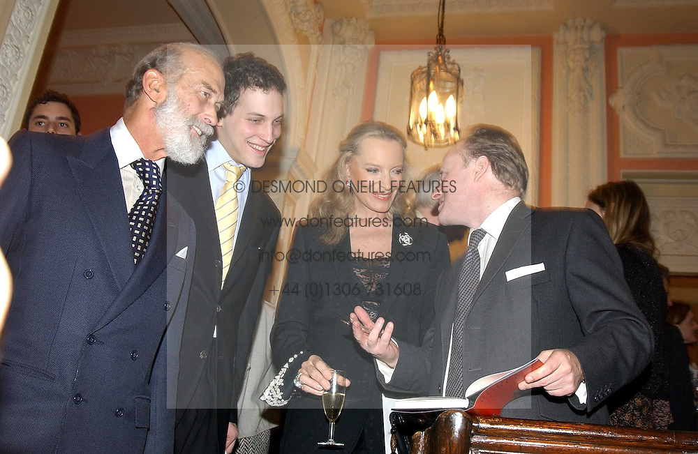 Left to right, HRH PRINCE MICHAEL OF KENT, LORD FREDERICK WINDSOR, HRH PRINCESS MICHAEL OF KENT and ANDREW ROBERTS at a party to celebrate the publication of Andrew Robert's new book 'Waterloo: Napoleon's Last Gamble' and the launch of the paperback version of Leonie Fried's book 'Catherine de Medici' held at the English-Speaking Union, Dartmouth House, 37 Charles Street, London W1 on 8th February 2005.<br /><br />NON EXCLUSIVE - WORLD RIGHTS