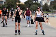 Locals exercise along St Kilda Beach during COVID-19 in Melbourne, Australia. Premier Daniel Andrews comes down hard on Victorians breaching COVID 19 restrictions, threatening to close beaches if locals continue to flout the rules. This comes as Victoria sees single digit new cases. (Photo by Dave Hewison/Speed Media)