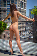 Rear, full length view of a nude woman standing at a fence on the roof of a building in Manhattan looking out at the skyline