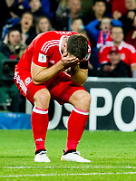 Football - 2016 / 2017 World Cup Qualifier - Group D: Wales vs. Georgia<br /> <br /> Sam Vokes with head in hands after missing with a shot at goal  at Cardiff City Stadium.<br /> <br /> COLORSPORT/WINSTON BYNORTH
