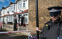 © Licensed to London News Pictures. 04/04/2018. London, UK. A specialist police search team using an endoscope camera to look for a bullet, through a bullet hole in a window frame, at a property on Chalgrove Road in Tottenham, north London where 17 year old Tanesha Melbourne was shot dead. A recent spree of killings in the capital has taken the murder toll for the year so far to 48. Photo credit: Ben Cawthra/LNP