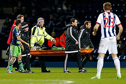 Ki Sung-Yueng of Swansea City is stretchered off after appearing to clash heads with Stephane Sessegnon of West Bromwich Albion - Mandatory byline: Rogan Thomson/JMP - 02/02/2016 - FOOTBALL - The Hawthornes - West Bromwich, England - West Bromwich Albion v Swansea City - Barclays Premier League.