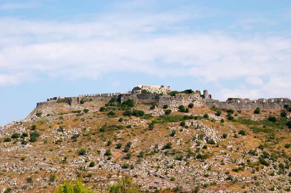 The Rozafa hilltop castle fortress fort between Shkodra and Lezhe. Albania, Balkan, Europe.