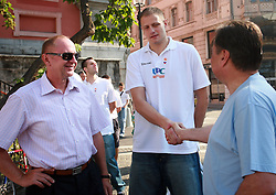 Dusan Sesok,Raso Nesterovic and Zoran Jankovic at press conference and after time with fans of Slovenian basketball National Team before departure to Athens for Olympic qualifications, on July 12, 2008, at Presernov trg, in Ljubljana, Slovenia. (Photo by Vid Ponikvar / Sportal Images)