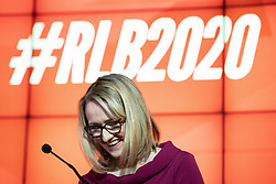 © Licensed to London News Pictures. 17/01/2020. Manchester, UK. RECECCA LONG-BAILEY delivers a speech and holds a Q&A session . Salford & Eccles MP Rebecca Long-Bailey launches her campaign to succeed Jeremy Corbyn in the race for Labour Party leadership , at an event in the Museum of Science and Industry in Manchester City Centre . Photo credit: Joel Goodman/LNP