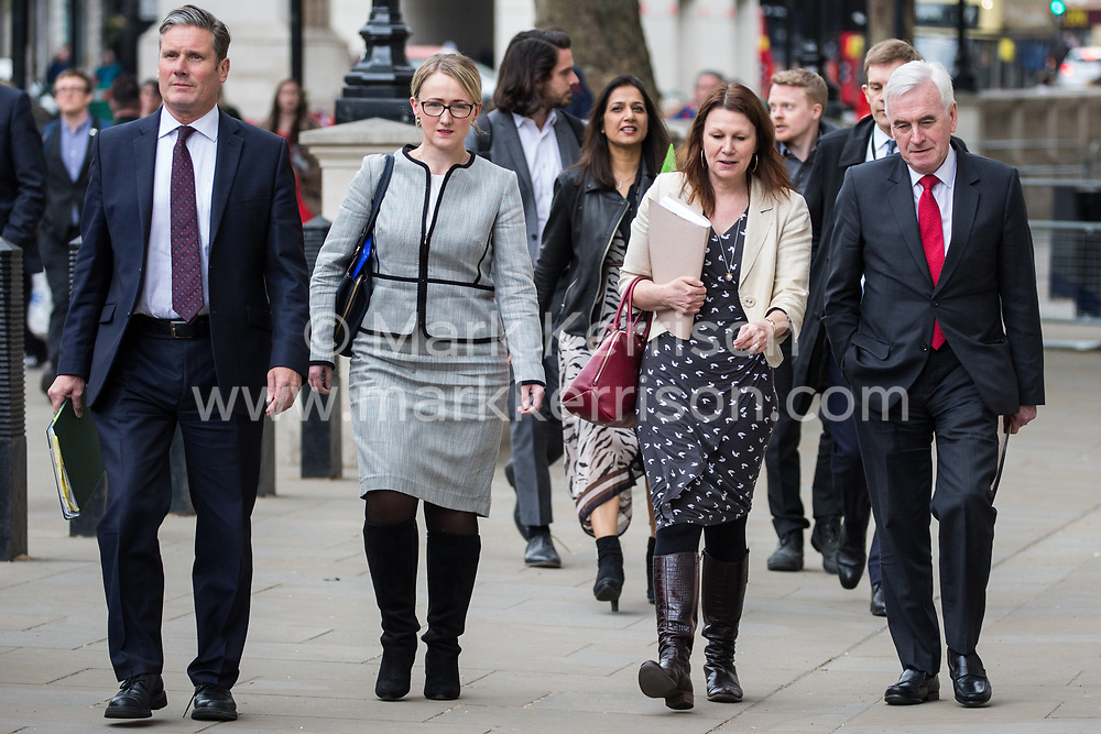 London, UK. 7 May, 2019. Shadow Secretary of State for Exiting the European Union Keir Starmer, Shadow Secretary of State for Business, Energy and Industrial Strategy Rebecca Long-Bailey, Shadow Secretary of State for Environment, Food and Rural Affairs Sue Hayman and Shadow Chancellor John McDonnell arrive at the Cabinet Office to attend continuing cross-party talks between representatives of the Government and the Labour Party.