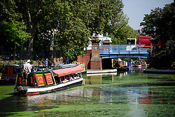 © Licensed to London News Pictures. 24/08/2016. London, UK. A canal boat makes its way along the Regents Canal in Little Venice, West London as warm weather across the UK continues.. Photo credit: Ben Cawthra/LNP