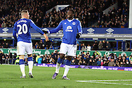 Romelu Lukaku of Everton ® celebrates with Ross Barkley after scoring his teams 4th goal. Barclays Premier League match, Everton v Aston Villa at Goodison Park in Liverpool on Saturday 21st November 2015.<br /> pic by Chris Stading, Andrew Orchard sports photography.