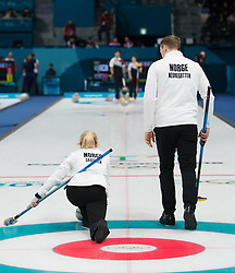 February 9, 2018 - Pyeongchang, SOUTH KOREA - 180209 Kristin Skaslien and Magnus Nedregotten of Norway competes in a mixed doubles curling match between South Korea and Norway during the 2018 Winter Olympics on February 9, 2018 in Pyeongchang..Photo: Joel Marklund / BILDBYRN / kod JM / 87609 (Credit Image: © Joel Marklund/Bildbyran via ZUMA Press)