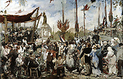 The 14th of July, 1880' study by Alfred Philippe Roll (1846-1919), French painter.  The crowds are en fete for 14 July, Bastille Day, a public holiday in France, and are enjoying the music played by the band on the bandstand.