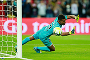 Toulouse Football Club's French goalkeeper Alban Lafont jumps during the French championship L1 football match between Paris Saint-Germain (PSG) and Toulouse, on August 20, 2017, at the Parc des Princes, in Paris, France - Photo Benjamin Cremel / ProSportsImages / DPPI