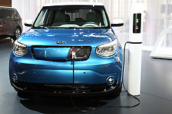 12 February 2015:  Kia ECO electric vehicle plugged into a changing station.<br /> <br /> First staged in 1901, the Chicago Auto Show is the largest auto show in North America and has been held more times than any other auto exposition on the continent. The 2015 show marks the 107th edition of the Chicago Auto Show. It has been  presented by the Chicago Automobile Trade Association (CATA) since 1935.  It is held at McCormick Place, Chicago Illinois