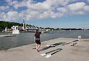 Poznan. Poland.GBR M2-. Matt LANGRIDGE, drops the pairs oars at the boating pontoon,  FISA 2015 European Rowing Championships. Venue Lake Malta. Thursday  28/05/2015 [Mandatory Credit: Peter Spurrier/Intersport-images.com]