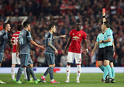Manchester United's Eric Bailly is shown a red card during the UEFA Europa League, Second Leg match at Old Trafford, Manchester.