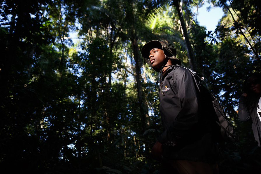 Parker Smith, 15, hikes through the jungle.