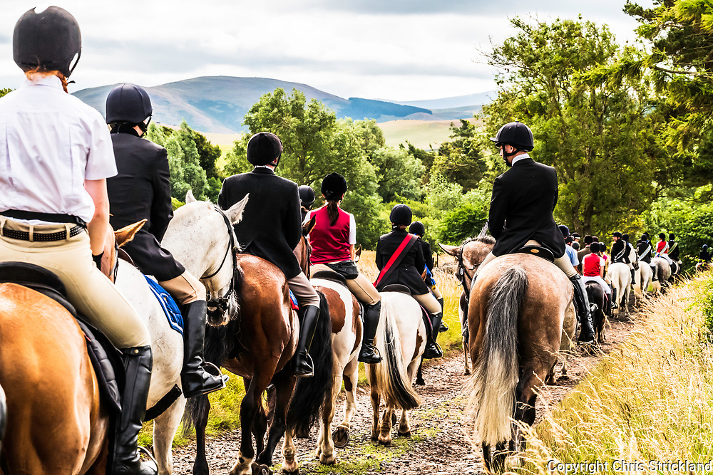 Kelso, Scottish Borders, UK. 21st July 2018. The Kelso Civic Week common riding festival climaxes on Saturday as over 200 horses ride out to Kirk Yetholm, situated in the Cheviot Hills at the Anglo Scottish Border.