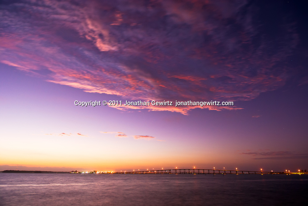 Predawn twilight with a dramatic sky over the William Powell bridge and Rickenbacker Causeway in Biscayne Bay. WATERMARKS WILL NOT APPEAR ON PRINTS OR LICENSED IMAGES.