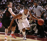 Jan 28, 2012; College Station, TX, USA; Texas A&M Aggies guard Elston Turner (31) drives past Oklahoma State Cowboys guard Keiton Page (12) during the second half at Reed Arena. Mandatory Credit: Thomas Campbell-US Presswire
