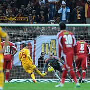 Galatasaray's Milan Baros (C) goal during their Turkish Superleague soccer match Galatasaray between Sivasspor at the Turk Telekom Arena at Aslantepe in Istanbul Turkey on Saturday 26 November 2011. Photo by TURKPIX