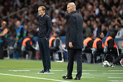 Coach of PSG Thomas Tuchel and coach of Real Madrid Zinedine Zidane observe their players the UEFA Champions League Raphael Varane Paris Saint Germain and Real Madrid at Parc des Princes on September 18, 2019 in Paris, France<br /> Photo by David Niviere/ABACAPRESS.COM