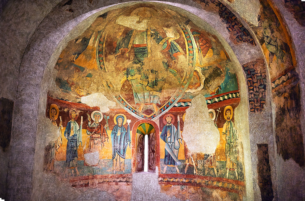 Twelfth century Romanesque frescoes of the Apse of Ginestarre, from the church of Santa Maria de Ginestarre, Catalonia, Spain. National Art Museum of Catalonia, Barcelona. MNAC 15971 ..<br /> <br /> If you prefer you can also buy from our ALAMY PHOTO LIBRARY  Collection visit : https://www.alamy.com/portfolio/paul-williams-funkystock/romanesque-art-antiquities.html<br /> Type -     MNAC     - into the LOWER SEARCH WITHIN GALLERY box. Refine search by adding background colour, place, subject etc<br /> <br /> Visit our ROMANESQUE ART PHOTO COLLECTION for more   photos  to download or buy as prints https://funkystock.photoshelter.com/gallery-collection/Medieval-Romanesque-Art-Antiquities-Historic-Sites-Pictures-Images-of/C0000uYGQT94tY_Y