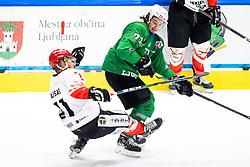 Saso Rajsar of HDD SIJ Acroni Jesenice vs Nejc Brus of HK SZ Olimpija during ice hockey match between HK SZ Olimpija and HDD SIJ Acroni Jesenice in fifth game of Final at Slovenian National League, on May 10, 2021 in Hala Tivoli, Ljubljana, Slovenia. Photo by Matic Klansek Velej / Sportida