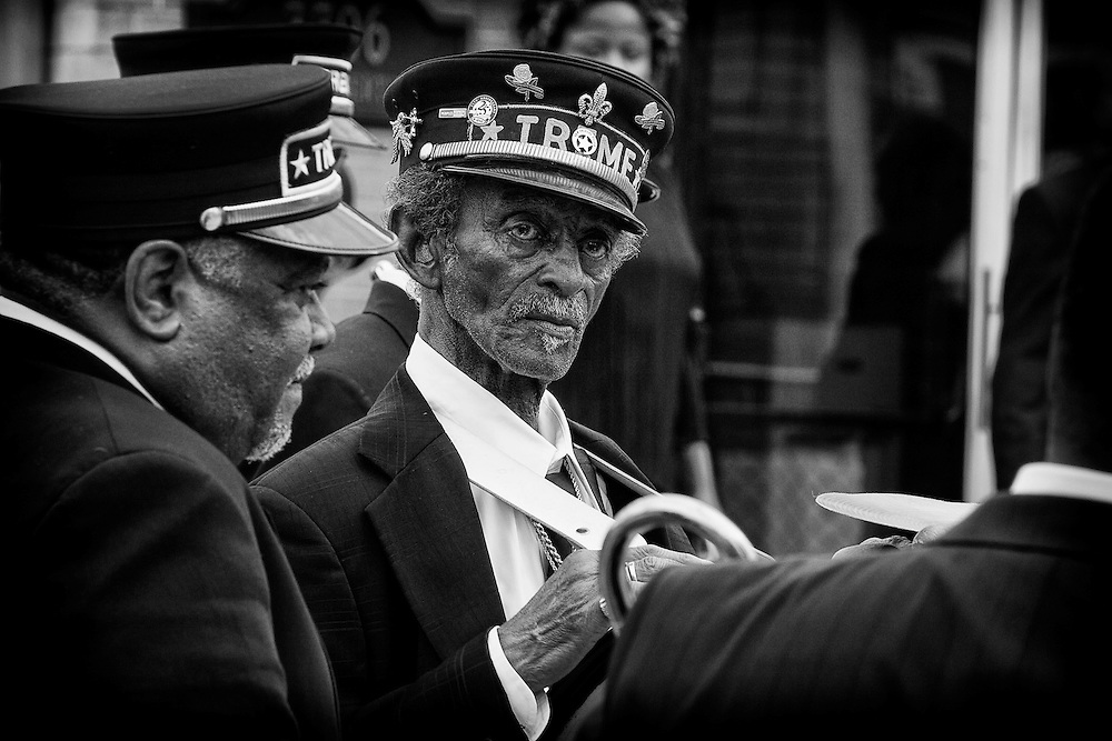 """Lionel Batiste of the Treme Brass Band, known as Uncle Lionel, on the set of HBO's """"TREME"""" (The Pilot) on 31 March 2009 in New Orleans, Louisiana. USA."""