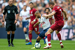 September 15, 2018 - Lucas of Tottenham Hotspur and James Milner of Liverpool during the Premier League match between Tottenham Hotspur and Liverpool at Wembley Stadium, London, England on 15 September 2018. Photo by Salvio Calabrese. (Credit Image: © AFP7 via ZUMA Wire)