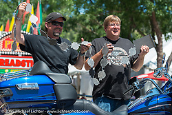 Harley-Davidson's Bill Davidson with Sturgis, SD Mayor Mark Carstensen at the official chain torching ceremony for the brand new Harley-Davidson Rally Point on the corner of Main Street and Harley Way during the 75th Annual Sturgis Black Hills Motorcycle Rally.  SD, USA.  July 31, 2015.  Photography ©2015 Michael Lichter.