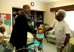 May 19th, 2006. New Orleans, Louisiana. On the campaign trail.  Mayor Ray Nagin pays a brief visit to the elderly at the Mercy Endeavors Senior Citizen Center in the Garden District before the run off elections tomorrow, Saturday May 20th.<br /> Photo; Charlie Varley/varleypix.com