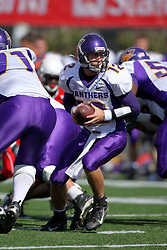 29 September 2007:  Eric Sanders takes the snap and looks for a running back. In action between the Northern Iowa Panthers and the Illinois State Redbirds, the Panthers chewed up the Redbirds by a score of 23 - 13. Game action commenced at Hancock Stadium on the campus of Illinois State University in Normal Illinois..