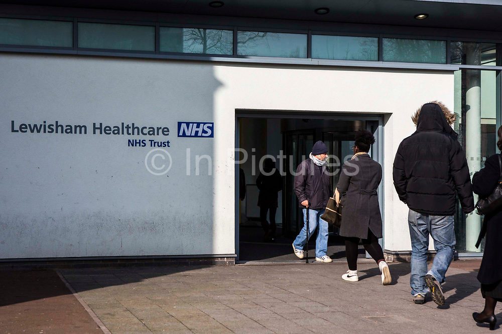 Adult patients enter and exit into the University Hospital Lewisham NHS Trust in Lewisham, London, UK.