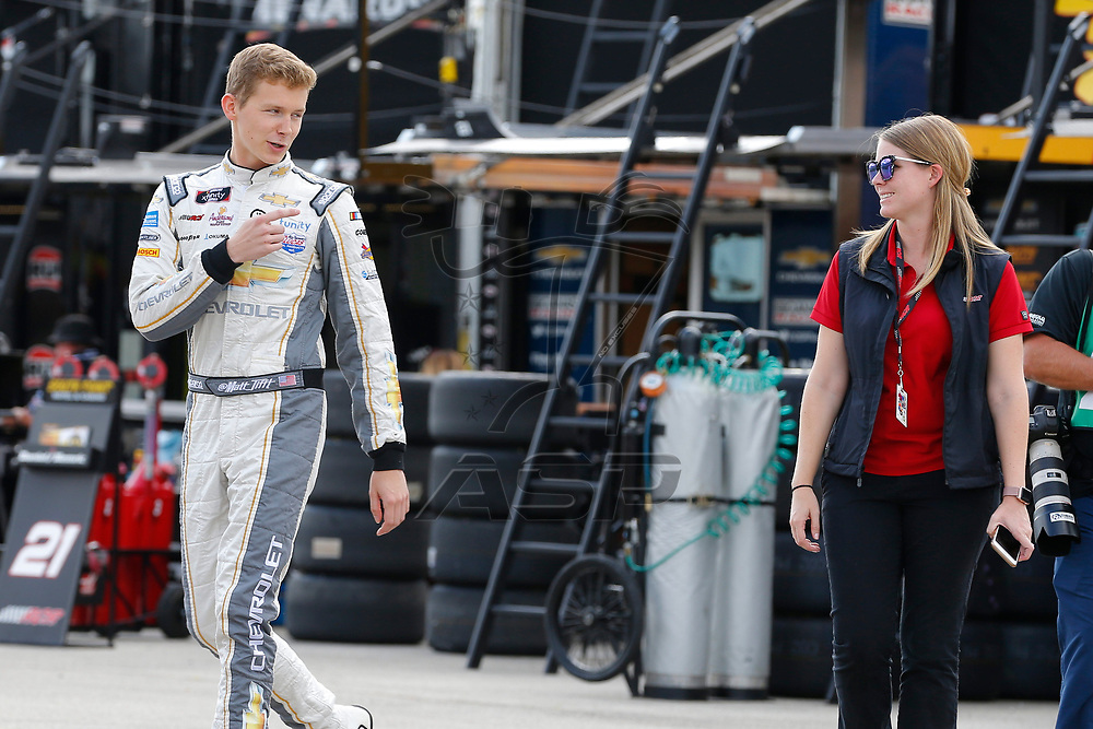 Matt Tifft (2) hangs out in the garage during practice for the US Cellular 250 at Iowa Speedway in Newton, Iowa.
