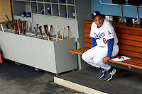 4 June 2008: Manager Joe Torre #6 sits quietly alone on the bench in the dugout before the Los Angeles Dodgers of MLB National League in action during a 2-1 loss to the Colorado Rockies on Wednesday at Dodger Stadium. ***EDITORIAL USE ONLY***
