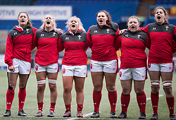 Wales women sing the anthem <br /> <br /> Photographer Simon King/Replay Images<br /> <br /> Six Nations Round 1 - Wales Women v Italy Women - Saturday 2nd February 2020 - Cardiff Arms Park - Cardiff<br /> <br /> World Copyright © Replay Images . All rights reserved. info@replayimages.co.uk - http://replayimages.co.uk