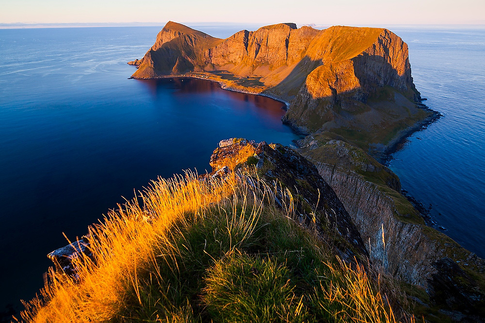 The abandoned village of Mostad and the southern end of the island of Vaeroy, Lofoten Islands, Norway.
