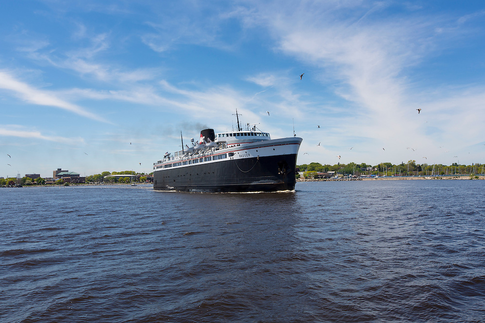 The SS Badger ferry heads out of Manitowoc, Wisconsin on it's 60 mile trip across Lake Michigan to Ludington, Michigan.  Photo by Mike Roemer 6-6-15