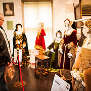 An exhibit of Henry VIII's six wives, with period clothing (Catharine Parr, the sixth, is off frame to left next to figure of Henry VIII himself). At far right is the figure of Anne Boleyn. Sudeley Castle dates back to the 15th century, although an even older castle might have once been on the same site. It was the final home and burial place of King Henry VIII's last wife, Queen Catherine Parr (c. 1512-1548).