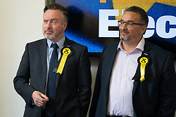 Edinburgh, Scotland, UK. 27 May, 2019. The six new Scottish MEPs are declared at the City Chambers in Edinburgh, SNP's Alyn Smith, Christian Allard and Aileen McLeod, Louis Stedman-Bruce from the Brexit Party, Sheila Ritchie of the Liberal Democrats and Baroness Nosheena Mobarik of the Conservatives. Pictured SNP's Alyn Smith, Christian Allard