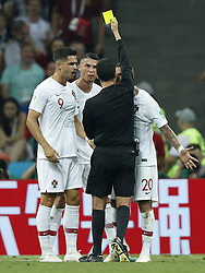 (L-R) Andre Silva of Portugal, Cristiano Ronaldo of Portugal, referee Cesar Ramos, Ricardo Quaresma of Portugal during the 2018 FIFA World Cup Russia round of 16 match between Uruguay and at the Fisht Stadium on June 30, 2018 in Sochi, Russia